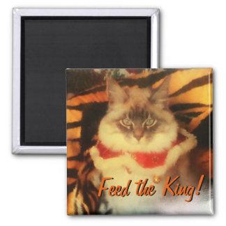 Füttern Sie den König! Ihr Haustierbild meme Quadratischer Magnet