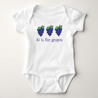 G ist für Trauben-lila Bündel-Frucht-Alphabet ABCs Baby Strampler