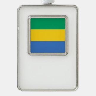 Gabun-Flagge Rahmen-Ornament Silber