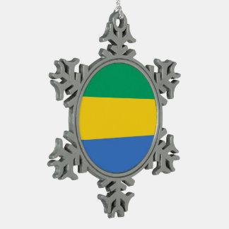 Gabun-Flagge Schneeflocken Zinn-Ornament