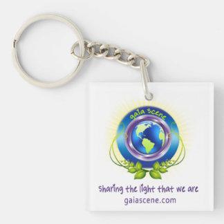 Gaia-Szenen-Quadrat-Schlüsselketten-Tropfen-Logo Schlüsselanhänger