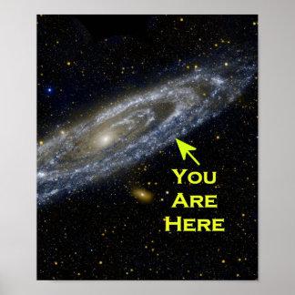 Galaktische Perspektive. Sie sind hier im Poster