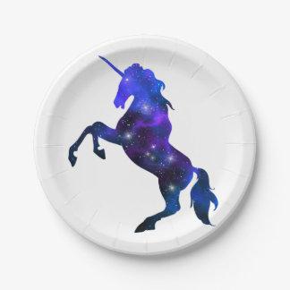 Galaxie funkelnd Bild blauen schönen Unicorn Pappteller