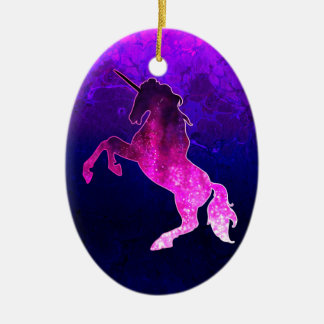 Galaxie funkelnd Bild rosa schönen Unicorn Ovales Keramik Ornament
