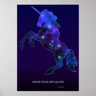 Galaxie funkelnd Bild rosa schönen Unicorn Poster