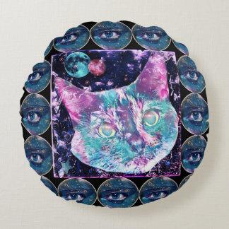 Galaxie-Katze Rundes Kissen