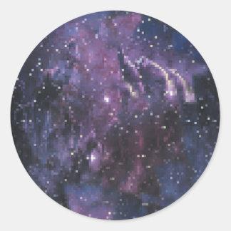 galaxy pixels runder aufkleber
