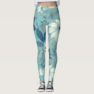 Gamaschen-blaues Blumenyoga Leggings