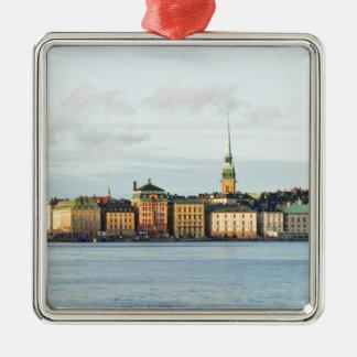 Gamla Stan in Stockholm, Schweden Quadratisches Silberfarbenes Ornament