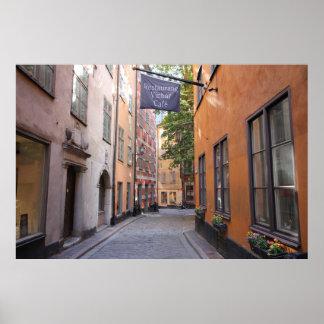 Gamla Stan, Stockholm, Schweden; Pastell-Kopfstein Poster