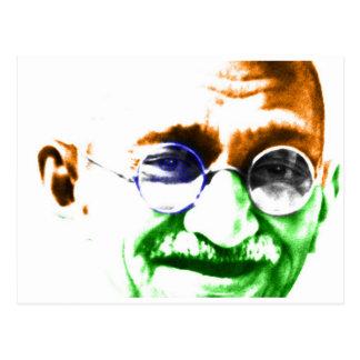 Gandhi auf subtiler indischer Flagge Postkarten