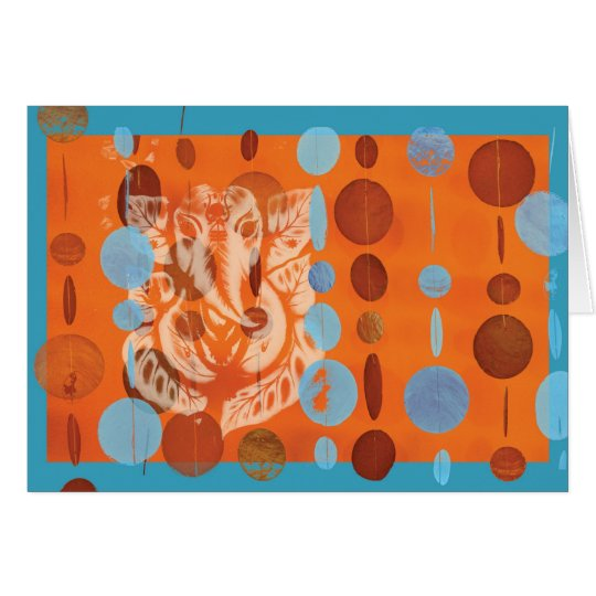 Ganesh Karten-Orange Grußkarte