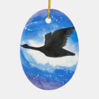 Gans im Flug Ovales Keramik Ornament