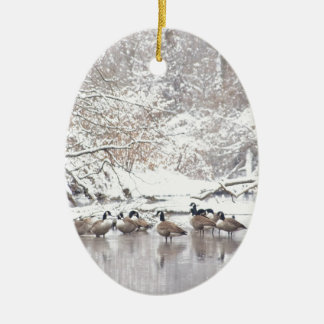 Gänse im Schnee Keramik Ornament