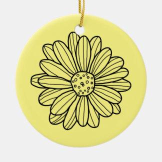 Gänseblümchen-Blume Rundes Keramik Ornament