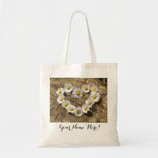 Gänseblümchen-Blumen-Herz-Taschen-Tasche Budget Stoffbeutel