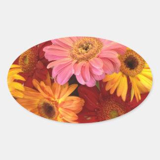 Gänseblümchen-Blumenstrauß-Aufkleber Ovaler Aufkleber