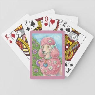 GÄNSEBLÜMCHEN die französischer rosa Pudel Spielkarte