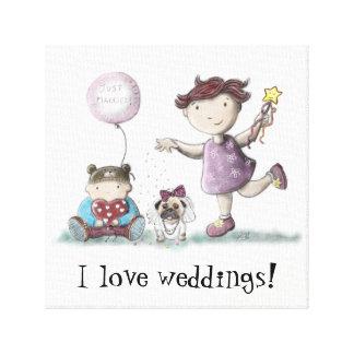 Gänseblümchen-Kuchen-Hochzeit! Leinwanddruck