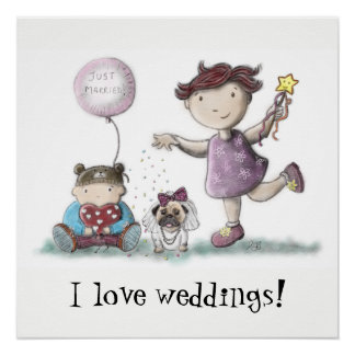 Gänseblümchen-Kuchen-Hochzeit Poster