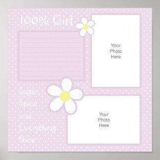 Gänseblümchen-Mädchen-Einklebebuch-Seite Poster