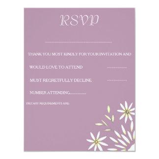 Gänseblümchen und Pflaumen-Hochzeits-Antwort-Karte 10,8 X 14 Cm Einladungskarte