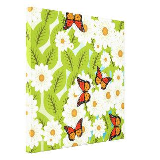 Gänseblümchen und Schmetterlinge Leinwanddruck