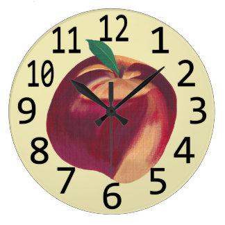 Ganze reife Pfirsich-Frucht-themenorientierte Große Wanduhr