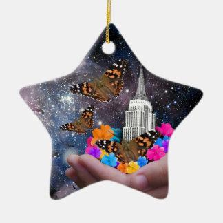 Ganze Welt in meinen Händen Keramik Stern-Ornament