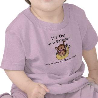 Garçon de jumeau de singe et T-shirt customisés de