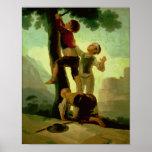 Garçons grimpant à un arbre, bande dessinée pour u affiches