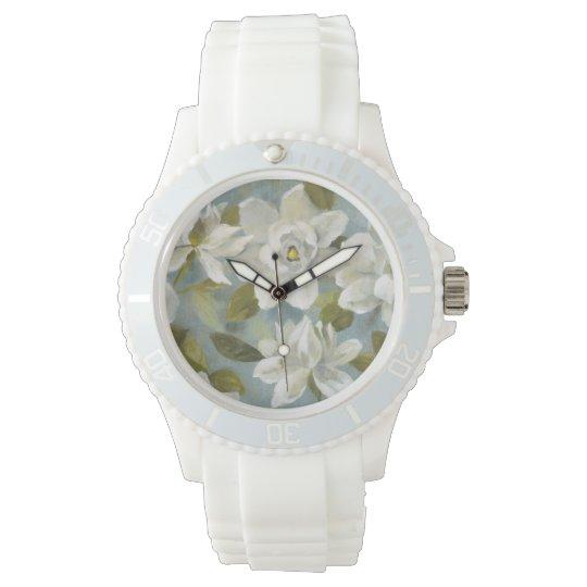 Gardenias auf Schiefer-Blau Armbanduhr