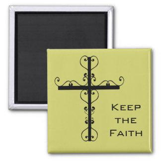Gardez l'aimant de croix de foi magnet carré