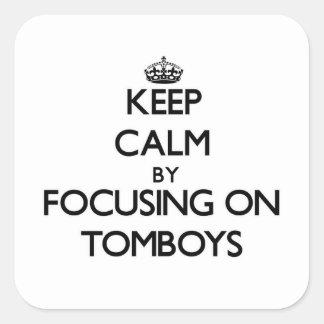 Gardez le calme en se concentrant sur des garçons sticker carré