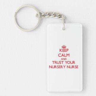 Gardez le calme et faites confiance à votre porte-clé  rectangulaire en acrylique une face