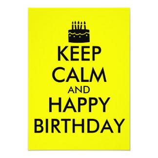 Gardez le calme et la partie sur le gâteau carton d'invitation  12,7 cm x 17,78 cm
