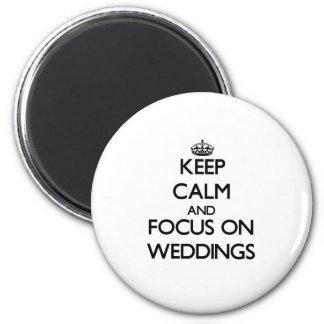 Gardez le calme et le foyer sur des mariages magnets pour réfrigérateur