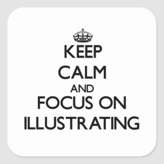 Gardez le calme et le foyer sur l'illustration autocollant carré