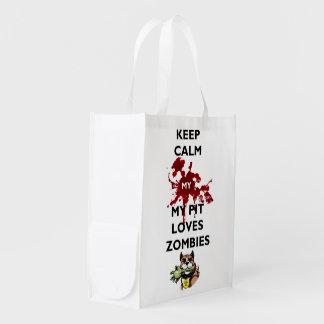 Gardez le calme mon sac réutilisable de zombis sac d'épicerie