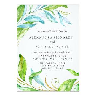 Garden Flower Watercolor Wedding Card