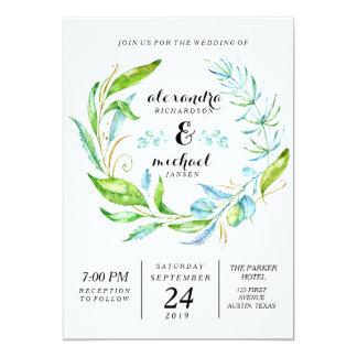 Garden Flower Wreath Watercolor Wedding Card