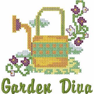 Garten-Diva Bestickter Damen Reißverschluss Hoodie