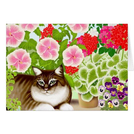 Garten-Dschungel-Katze Grußkarte