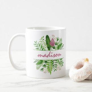 Garten-Holz-botanische Typografie Kaffeetasse