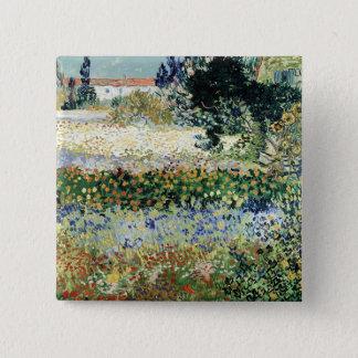 Garten Vincent van Goghs   in der Blüte, Arles, Quadratischer Button 5,1 Cm