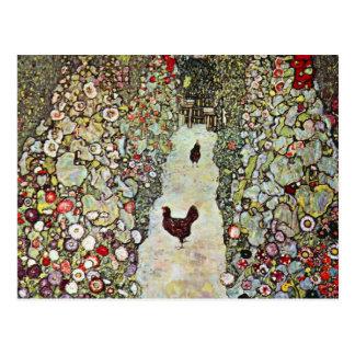 Garten-Weg mit Hühnern Klimt Kunst Nouveau Postkarten