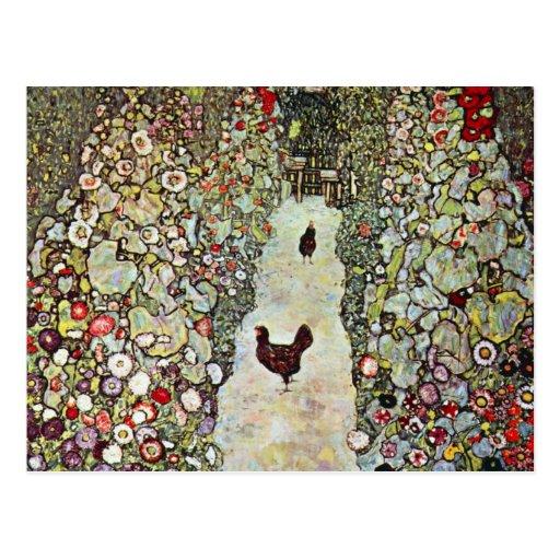 Garten-Weg mit Hühnern, Klimt, Kunst Nouveau Postkarten