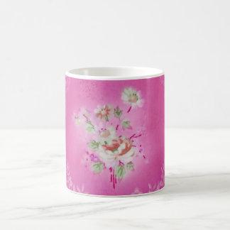 GASCHROMATOGRAPHIE Vintage rosa BlumenTasse Kaffeetasse