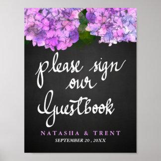 Gast-Buch-Tafel-HochzeitHydrangea mit Blumen Poster