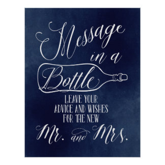 Gast-Buchzeichen - Mitteilung in einer Flasche - Poster